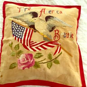 Antique silk embroidery pillow, flag, eagle, rose